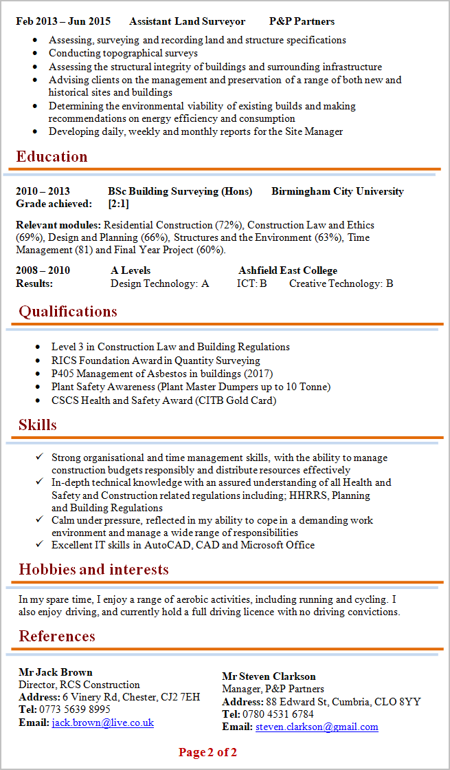 Building Surveyor Cv Template 2